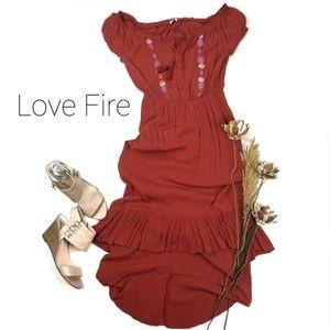 ❣Love, Fire❣ Coral  Bateau Layered Hi lo Dress S/P